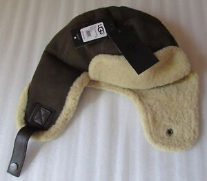 2b00aa37a03 Image is loading UGG-Hat-Trapper-Aviator-Sheepskin-Slate-Clay-Size-
