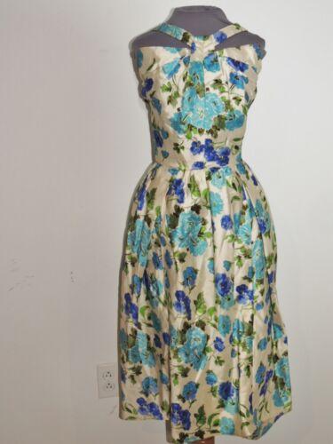 1950's Hattie Carnegie Blue Rose Print Silk Dress