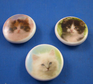 1-034-BIRCHCROFT-PORCELAIN-CHINA-BUTTONS-COLLECTION-OF-THREE-KITTENS