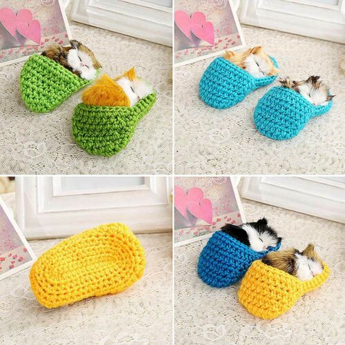 Funny Sleeping Cats Simulation Sounding Shoe Kittens Wool Knitting Toys For Kids