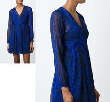 NWT MICHAEL Michael Kors Sz 6, High Woods Leopard-Print Mini Dress Dark AZURITE