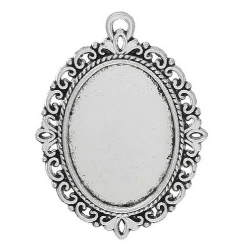 Gift Wholesale Silver Tone Oval Flower Frame Beads Settings 39x29mm