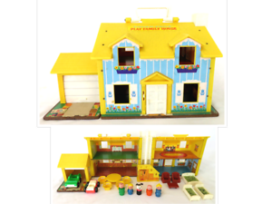 Vintage 1968 80 Fisher Price Play Family House 952 Version 1 Blue W Yellow Roof Ebay