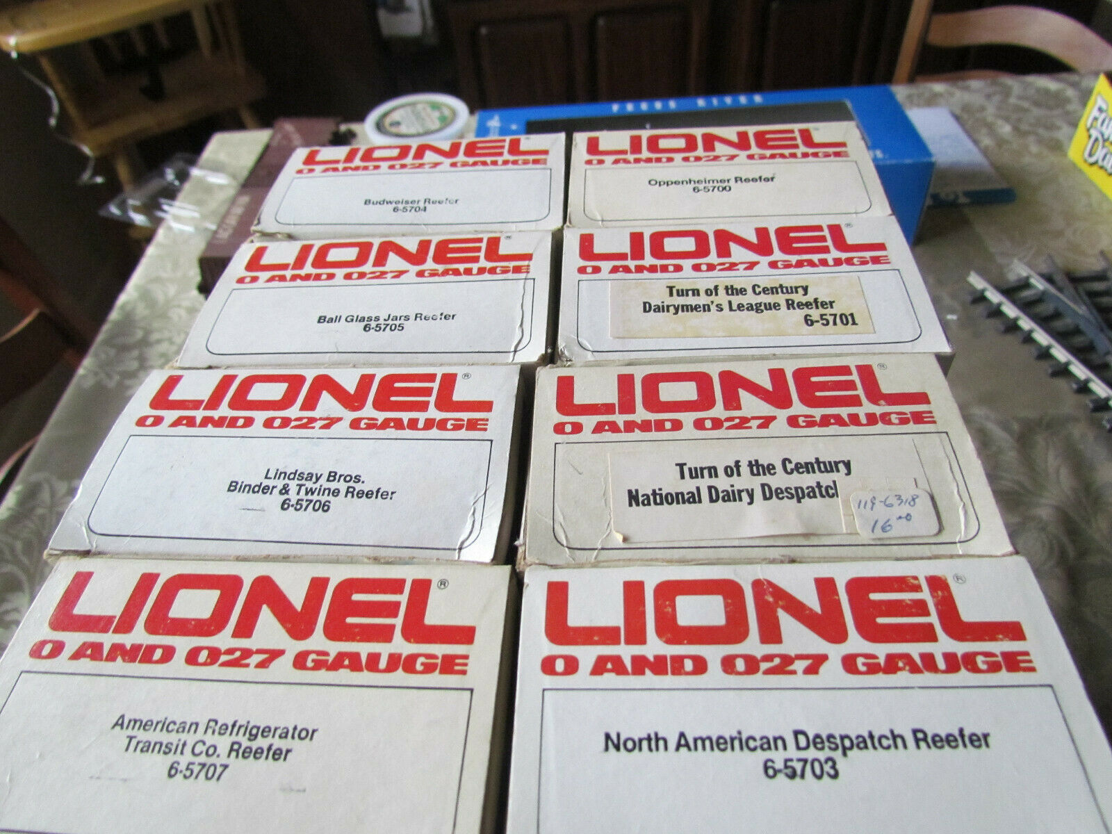 Lionel 5700-5707 Series Woodsided Reefers- All 8; Factory Weathered