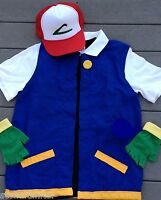 Men's XLG  - Extra Lg Pokemon Trainer Costume - Ash Ketchum Cosplay 3 pc  w/ Hat