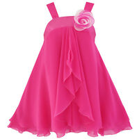 Girls Dress A-line Halter Flower Multi Layer Chiffon Size 4-14 Us Seller