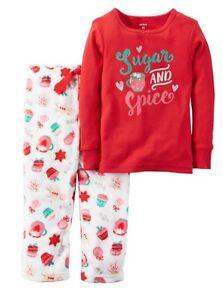 Carters Girls Size 12M Pajamas Sleepwear Winter Fleece Cotton Christmas Xmas Red