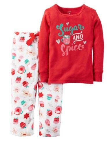 Carters Girls Size 18M Pajamas Sleepwear Winter Fleece Cotton Christmas Xmas Red
