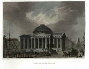 Boston-Masss-Customs-House-active-scene-1843-engraved-street-view-print