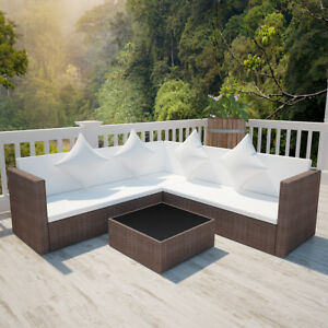 Rattan lounge set braun  vidaXL Poly Rattan Lounge Set Braun Gartenmöbel Sofa Sitzgruppe ...