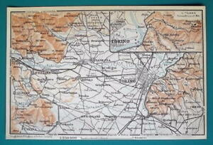 Map Of Italy Torino.Details About 1931 Baedeker Map Italy Torino Turin Environs Alps Panorama Railroads
