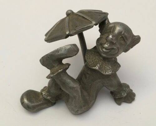 Vintage 79' Rawcliffe Davis Pewter Circus Clown Relaxing Under Umbrella