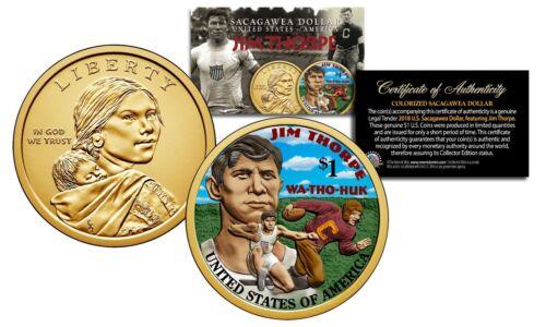 2018 Native American JIM THORPE Colorized Genuine Legal Tender $1 Sacagawea Coin