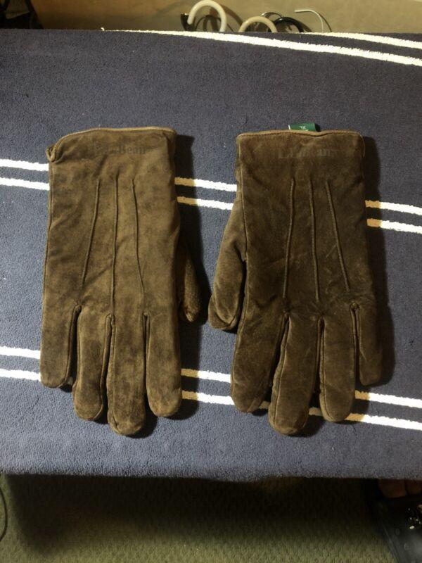 Men's Beige Brown Suede Winter Gloves Black Sheepskin Interior Size Xl