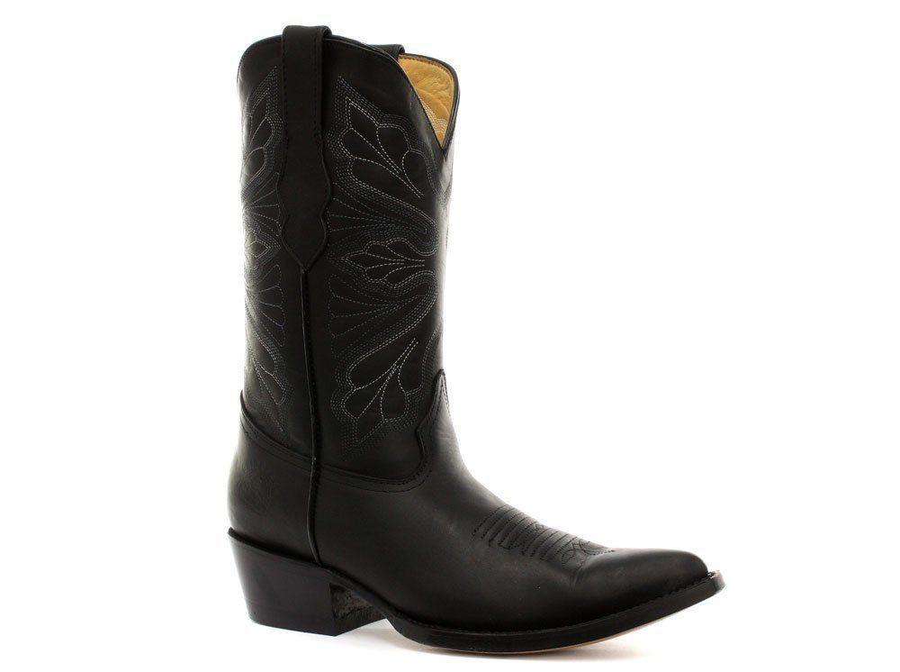 Grinders Dallas Donna Nero Western Vera pelle Stivali Cowboy Western Nero Stivali al Polpaccio Punta 78d893