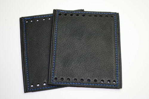 Black Deluxe Padded Leather Grip Covers for Stock HD Grips Choice Color Stitch