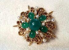vintage signed ART brooche- faux jade, pearl & citrine rhinestones