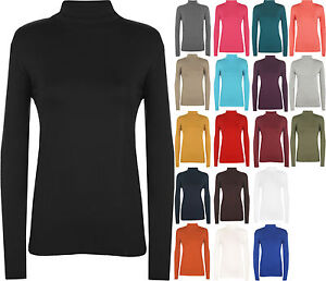New-Ladies-Polo-Turtle-Neck-Stretch-Long-Sleeve-Womens-Plain-Top-Jumper-8-14