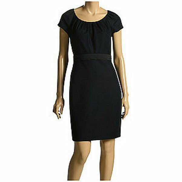 NEW  Elie Tahari Alison Pencil Dress Größe 14  Pleated Neck Line Cap Sleeves