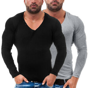 Mens-Long-Sleeve-T-Shirt-Slim-Fit-Casual-Blouse-Tee-Tops-Summer-Muscle-Shirts