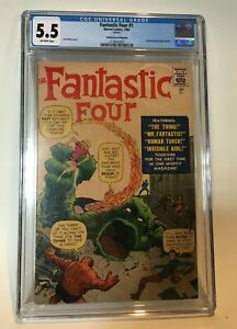 Fantastic-Four-1-CGC-5-5-Golden-Record-Reprint-1966-with-record-Marvel-Lee-Kirby