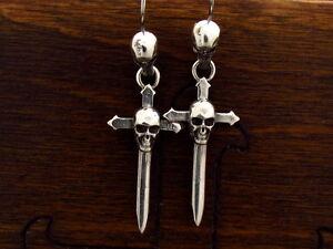 Unikate & Goldschmiedearbeiten Ohrschmuck Mysacrum Dagger Skull Earrings Silver 925 Jade Weiß