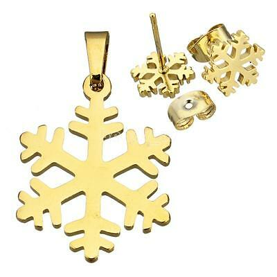 Hot Stainless Steel Jewelry Gold Snowflake Pendant Earring Set no Chain Ear Stud