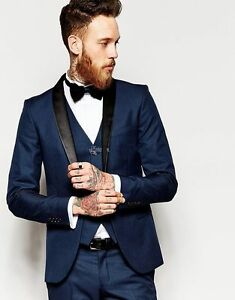 Image Is Loading Groom Tuxedo Men 039 S Suit Navy Blue