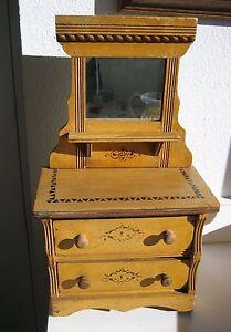 Stenciled Oak Antique Doll Mirrored Dresser Ebay