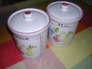 2 Vorratsgefäße  Porzellan Mehl und Zucker Höhe:15cm 3x gefüllt