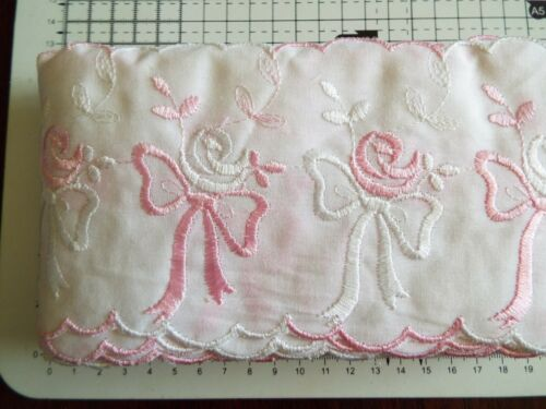 10 cm  wide 1m White//Pink Embroidered Cotton Embroidery Anglais Flat Lace
