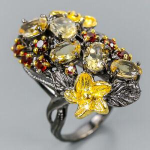 Vintage-SET-Natural-Citrine-925-Sterling-Silver-Ring-Size-6-R102839