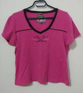 e596b209 Harley Davidson Womens T Shirt Size Large Hot Pink Goulet Hawkesbury ...