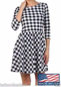 Everly-1960-s-Retro-Black-amp-White-Check-Pattern-Casual-Skater-Dress-EC-2288