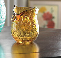 small amber glass OWL bird statue Handmade flower VASE votive candle holder cup