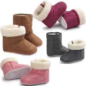 Newborn-Baby-Boy-Girl-Soft-Sole-Snow-Boots-Anti-slip-Fur-Crib-Shoes-Prewalker-UK