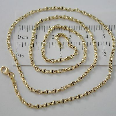 18K YELLOW GOLD CHAIN NECKLACE SAILOR'S OVAL NAVY MESH 23.62 IN. MADE IN ITALY