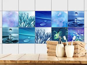 Fliesenaufkleber Fliesenbild 10 Motive Wasser Tropfen Blautöne grün ...