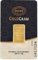 10 gram fine gold bar 999.9 international certificated Istanbul Gold refinery