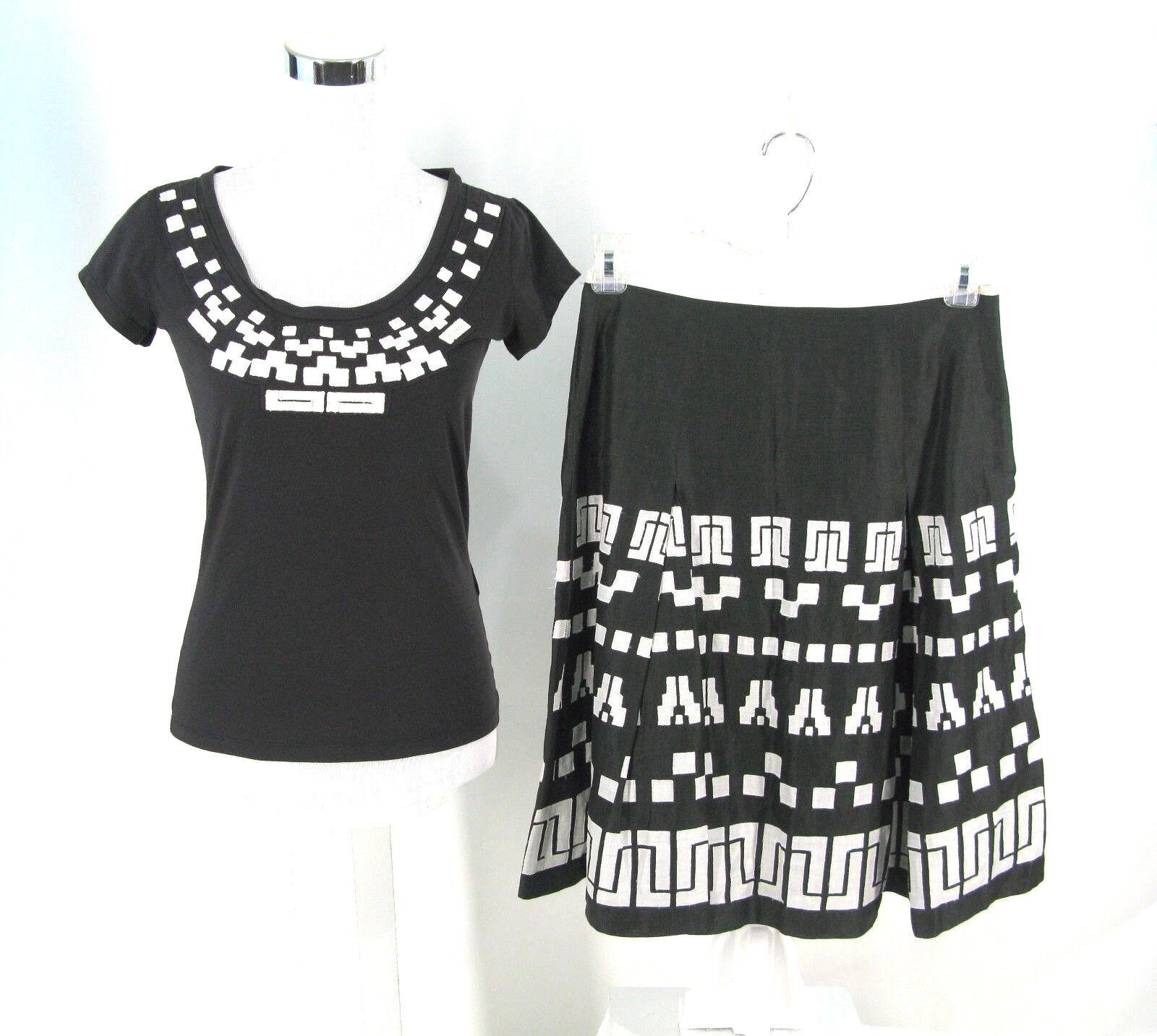 Max Mara Weekend 2pc Set Sz 8 Skirt   Sz S Top Brown Cotton   Ramie Aztec NWOT