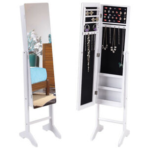 Mirrored Jewelry Cabinet Armoire Storage Organizer Box Ring w Stand