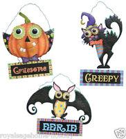 95509 Large 17 Halloween Metal Greeter Sign Door Wall Hanging Decoration Words