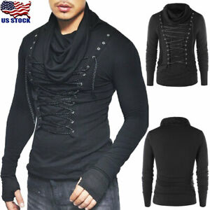 Men-Punk-Rave-Gothic-Long-Sleeve-Tops-Casual-High-Neck-Lace-Up-T-Shirt-Blouse-US