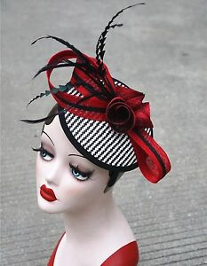 Red Womens Sinamay Fascinator Cocktail Headband Feather Kentucky Derby Hat T221