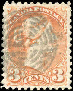 Canada-Used-1873-3c-VF-Scott-37iii-ORANGE-RED-PERF-11-5x12-Small-Queen-Stamp