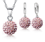 Ohrringe Rund Kristall 10 Farben Schmuckset Silber 925 Kette Anhänger