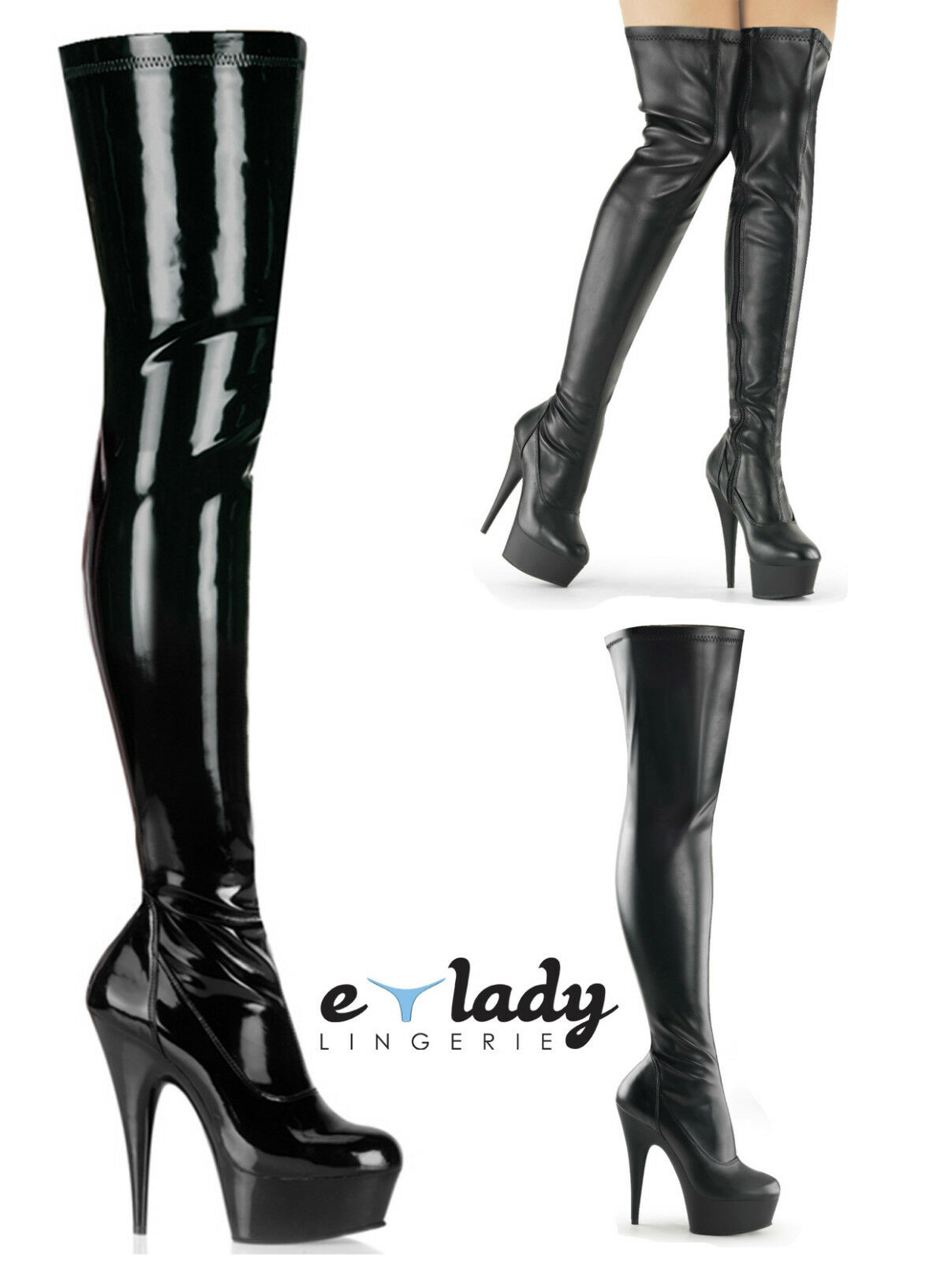 Pleaser Delight-3000 Thigh High Over Knee Black Boots Boots Boots shoes Platform High Heels 60e2da