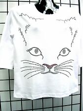 1X 20/22 MULTI COLOR CAT FACE ACFA ART MOTIF TERAZZO WOMENS KNIT SWEATER OPTION