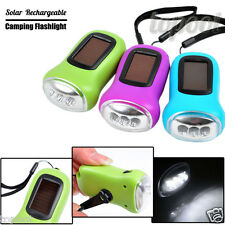 3LED Hand Crank Dynamo+Solar Power Rechargeable For Carabiner Camping Flashlight