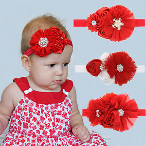 3 pcs Baby Girl Red Bow flower Headband